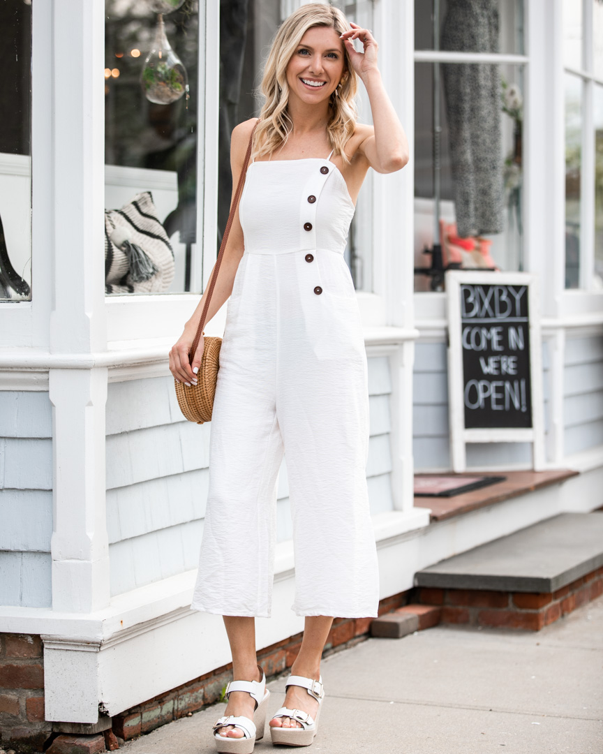 White Jumpsuit with Button Detail