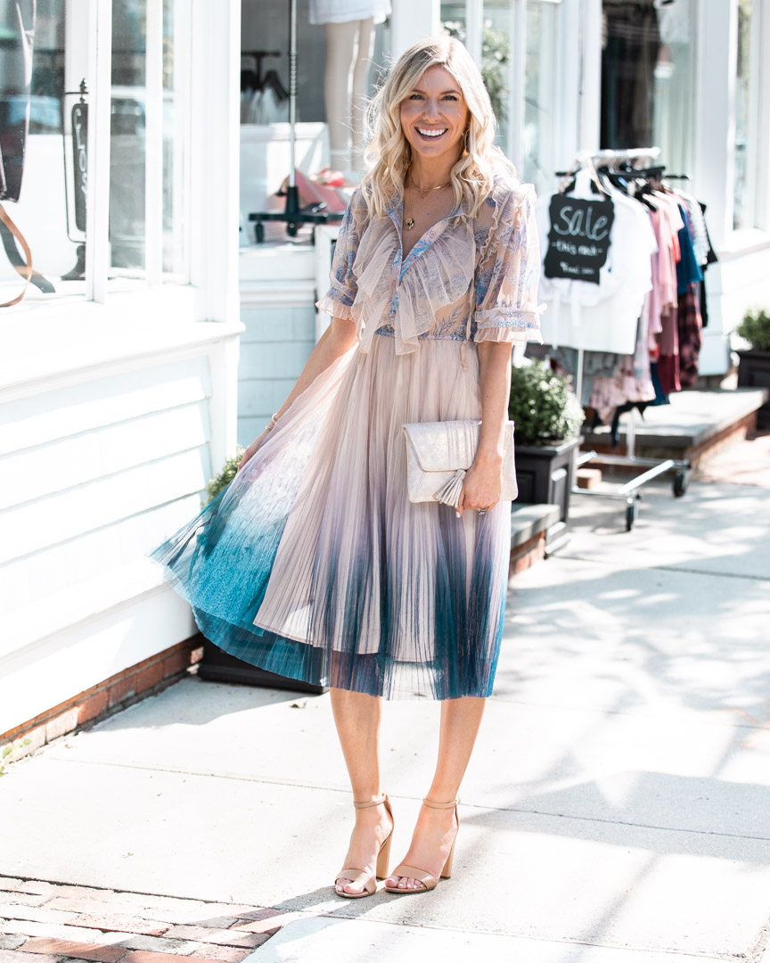 Ombre Pleated Midi Dress