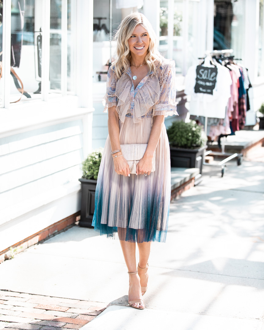 Ombre Pleated Midi Dress