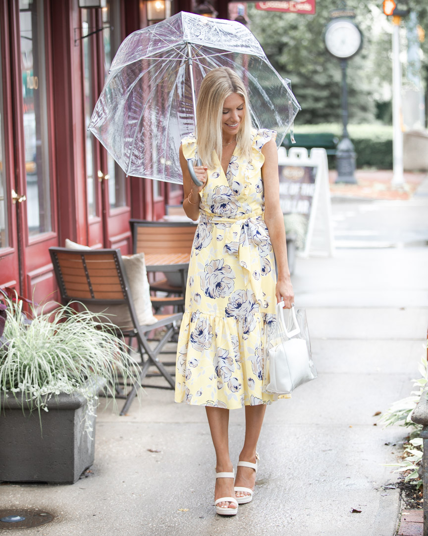 transparent tote bag and yellow floral dress