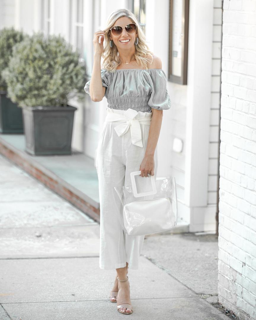 white transparent tote bag