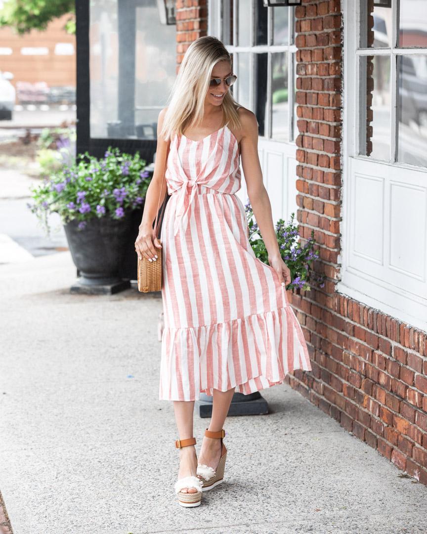 striped ruffle midi dress The-Glamorous-Gal