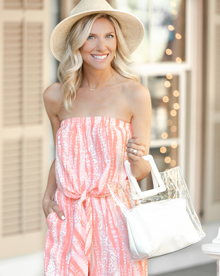 casual summer jumpsuit and straw hat