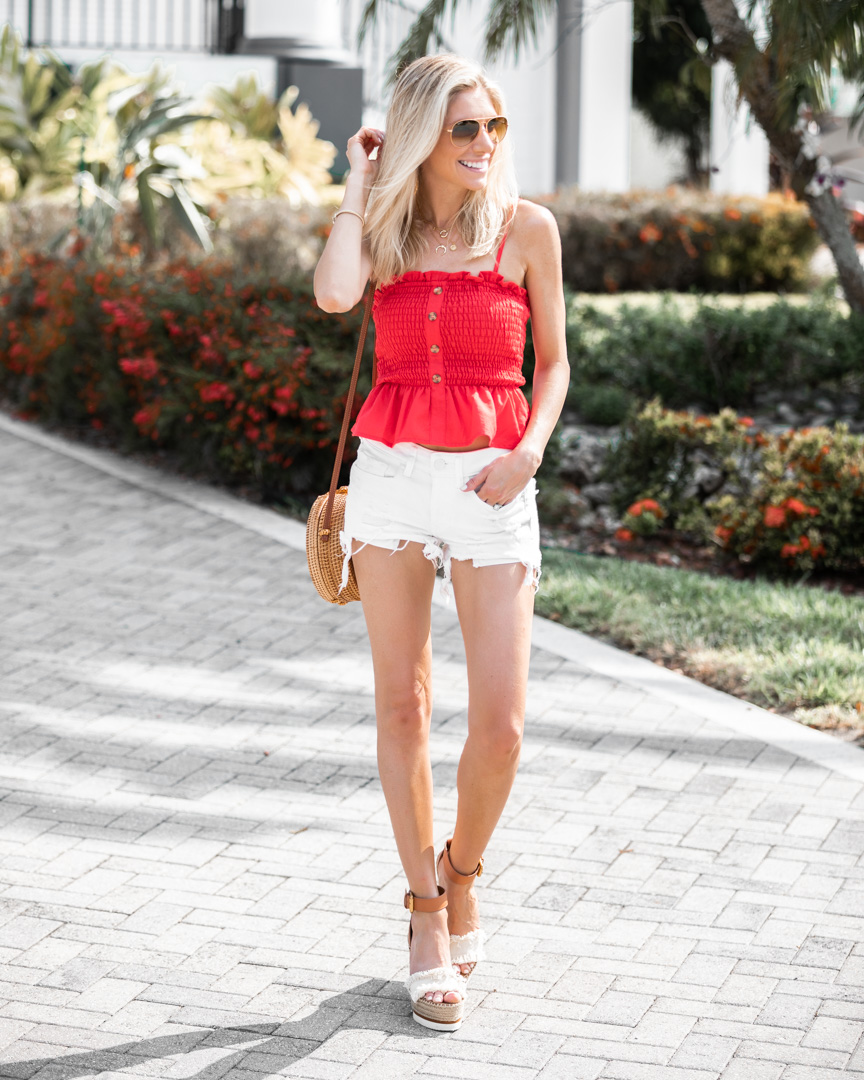 white ripped shorts and bright top for summer The-Glamorous-Gal