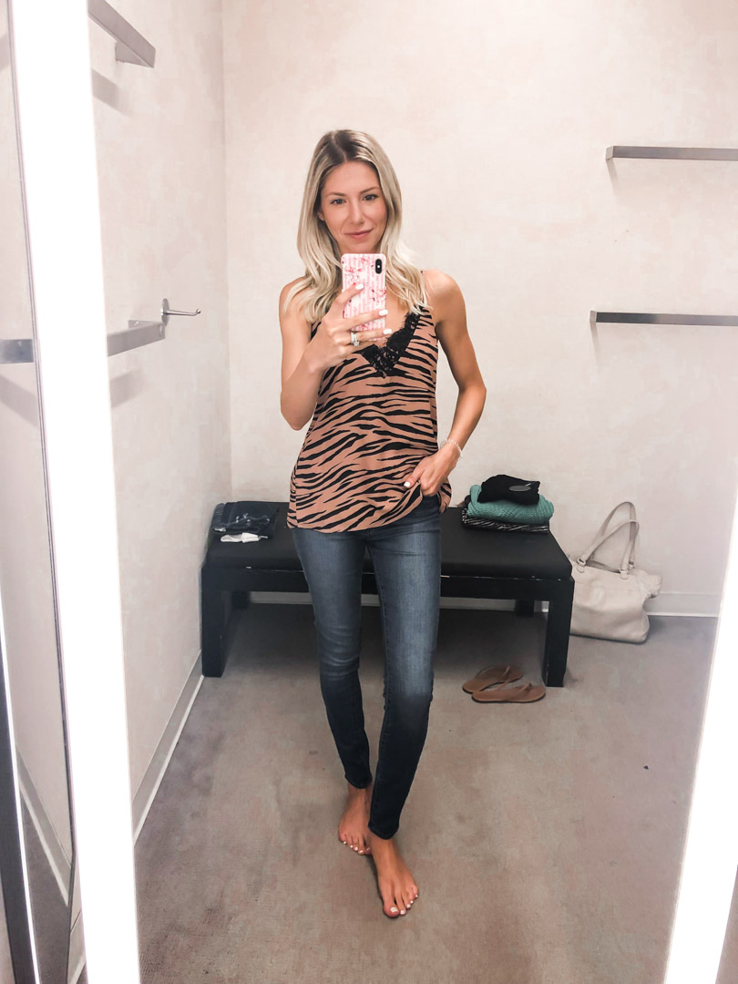 zebra tank top and jeans