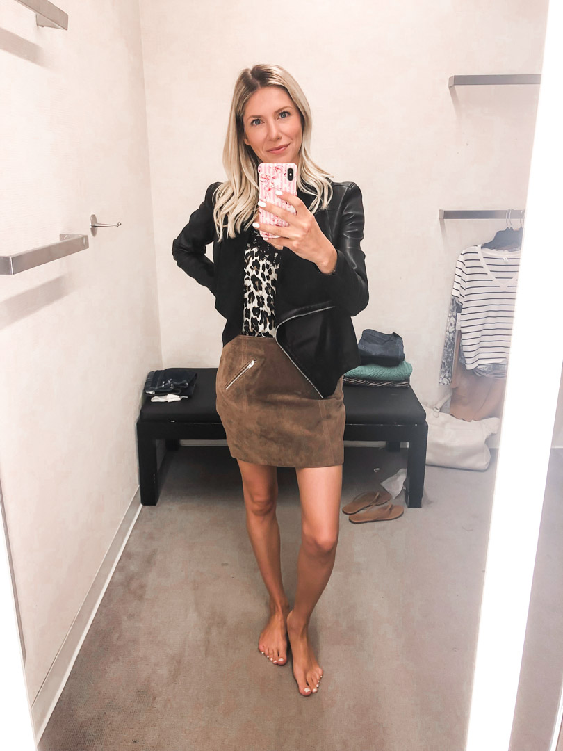 blank nyc suede skirt and leather jacket