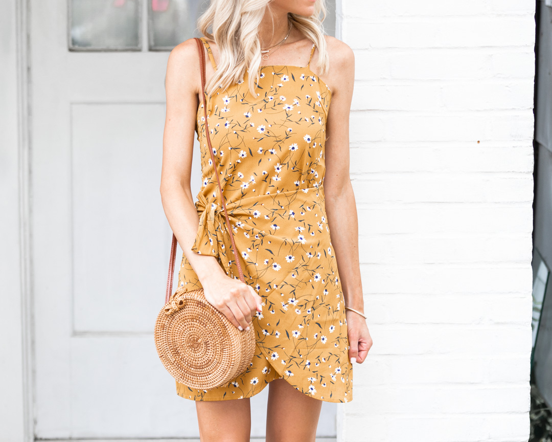 floral dress and rattan bag