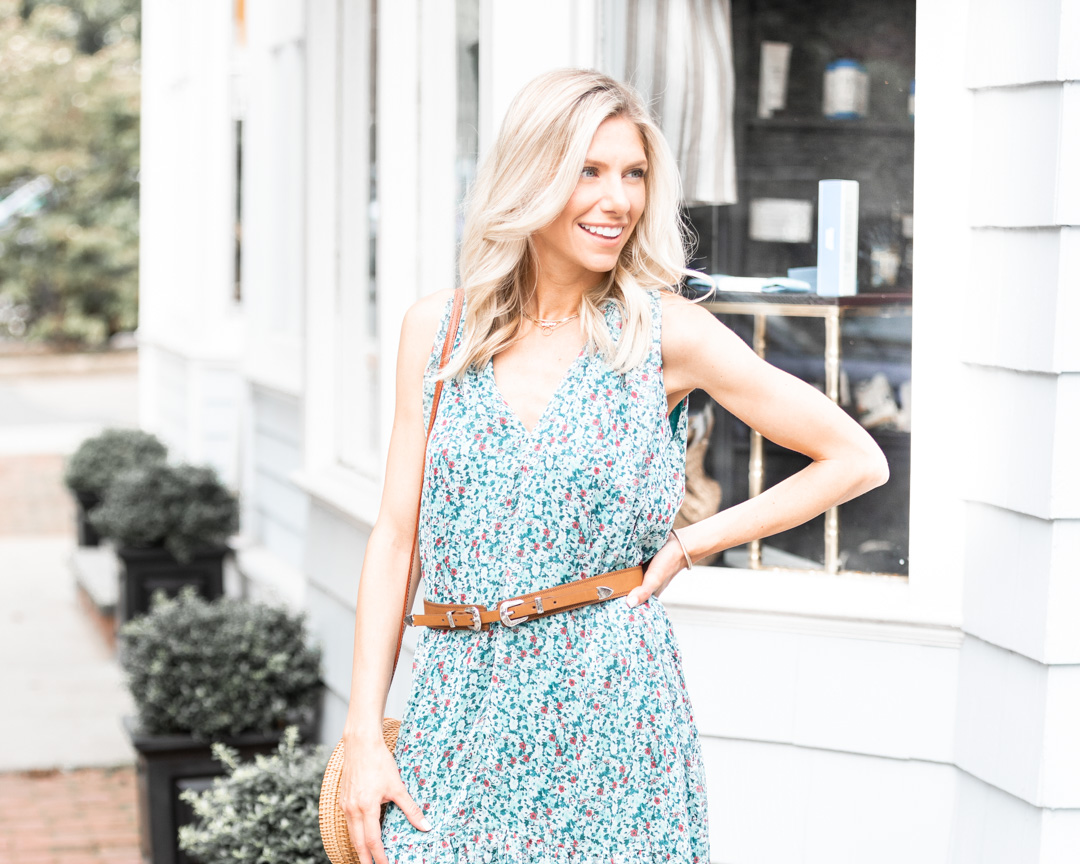 floral maxi dress and western belt