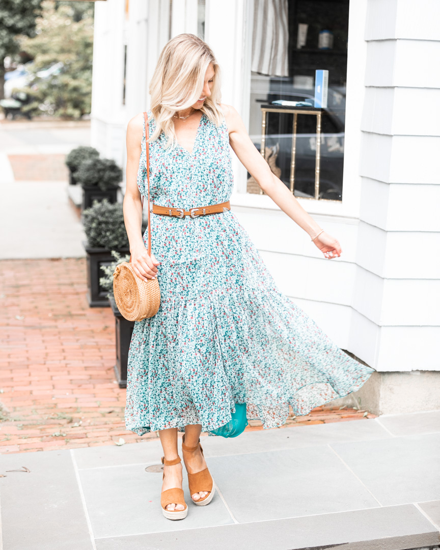 flowy midi dress with wedges