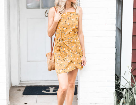 floral mustard colored dress