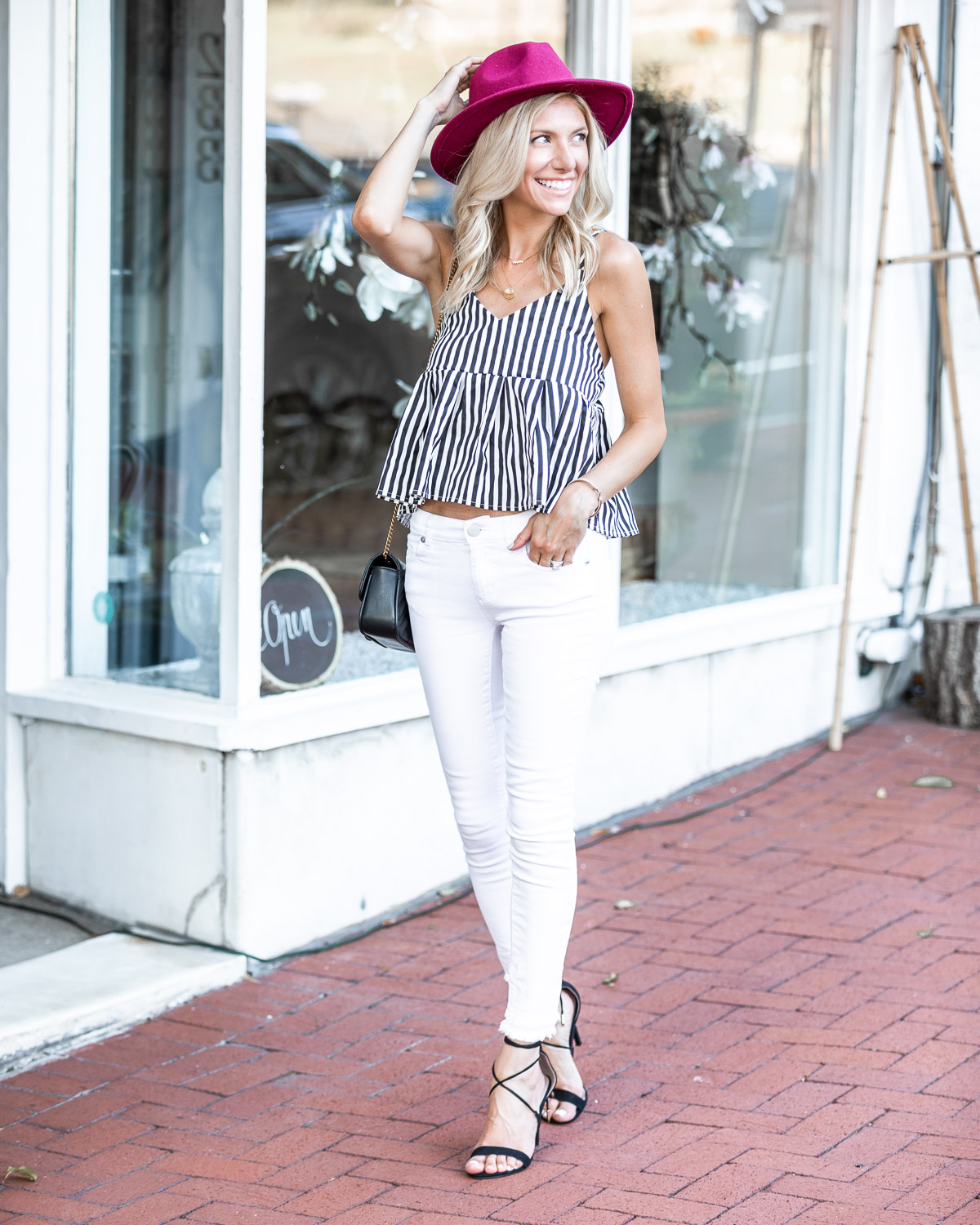 black and white striped tank top The Glamorous Gal