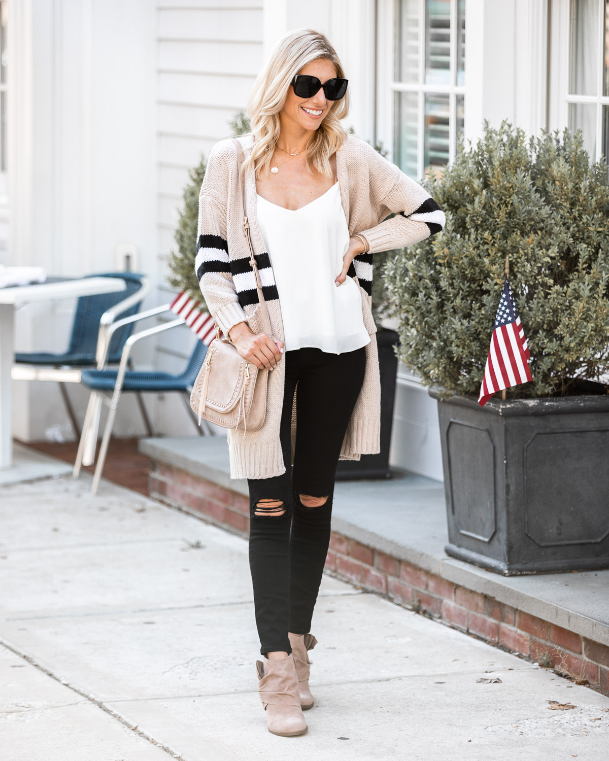 casual fall cardigan and ripped jeans The Glamorous Gal