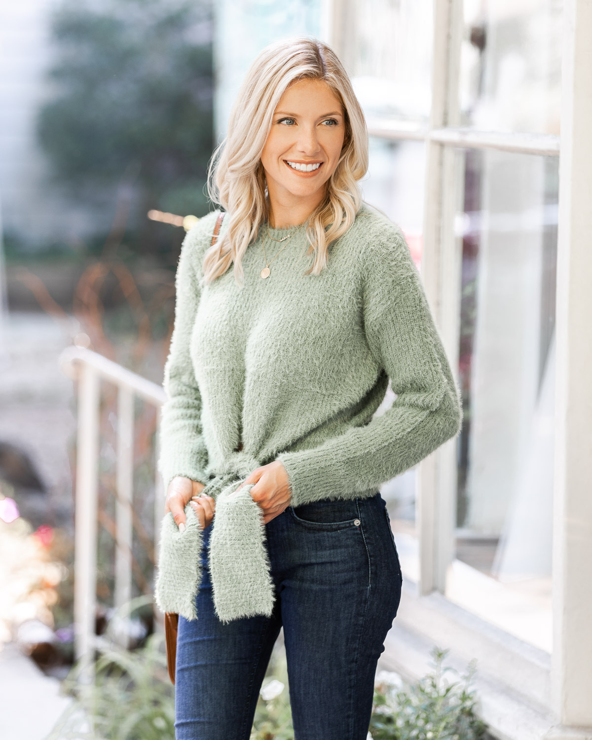 cropped tie front sweater from goodnight macaroon The Glamorous Gal