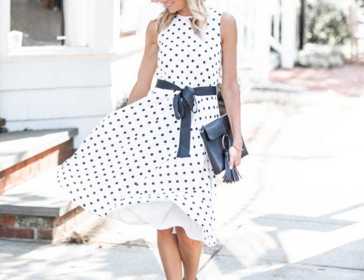 flowing polka dot midi dress The Glamorous Gal