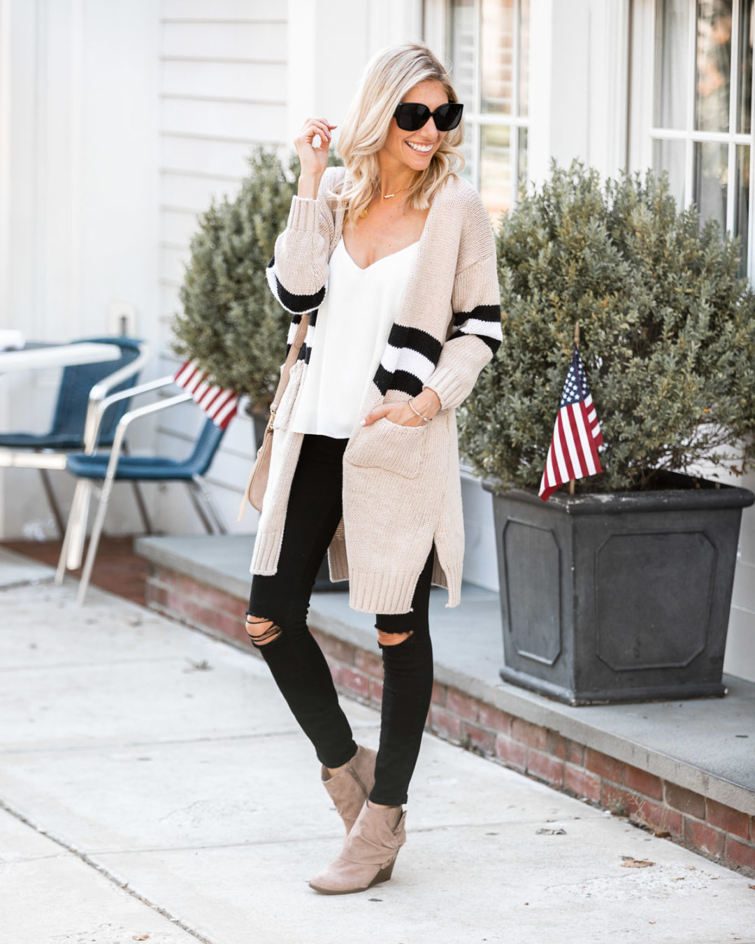 long cardigan and suede booties for fall The Glamorous Gal