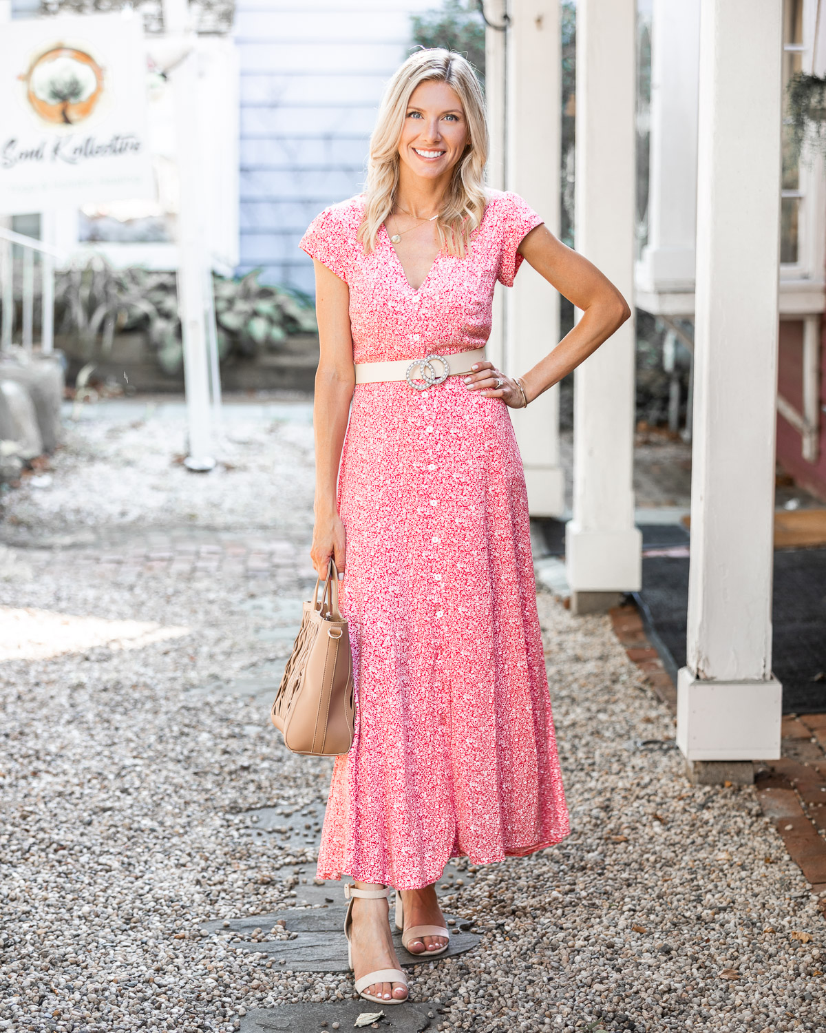 red floral maxi dress and tan belt The Glamorous Gal