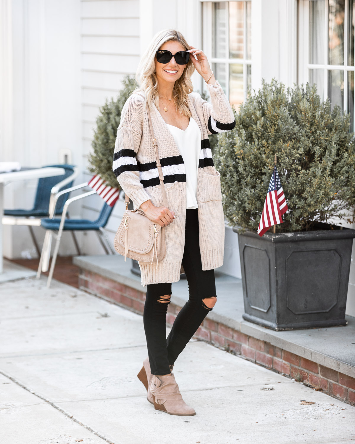 sporty striped cardigan for fall The Glamorous Gal