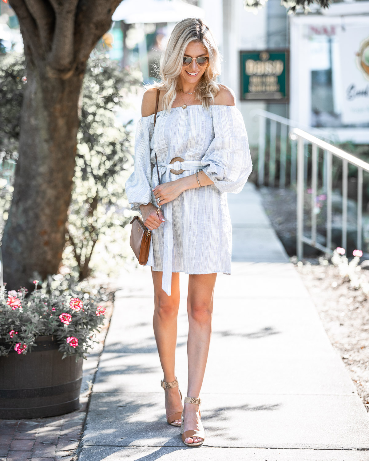 striped fall dress with bubble sleeves The Glamorous Gal