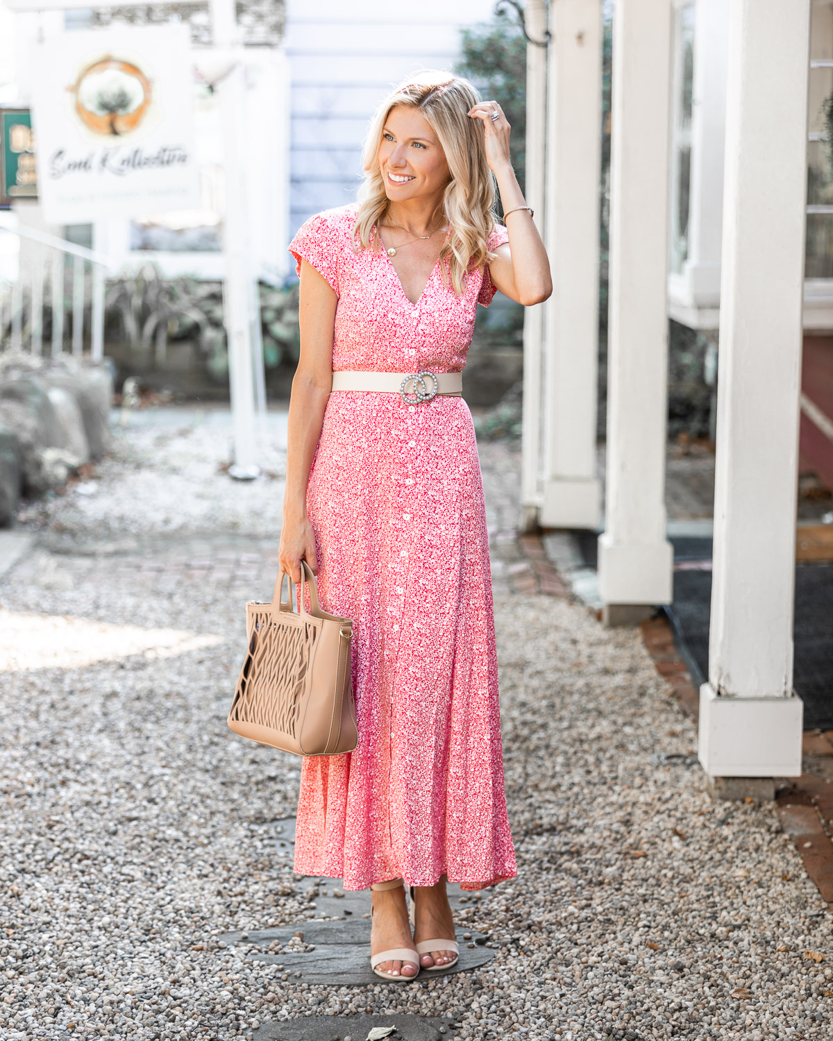 v neck maxi dress and tan cutout bag The Glamorous Gal