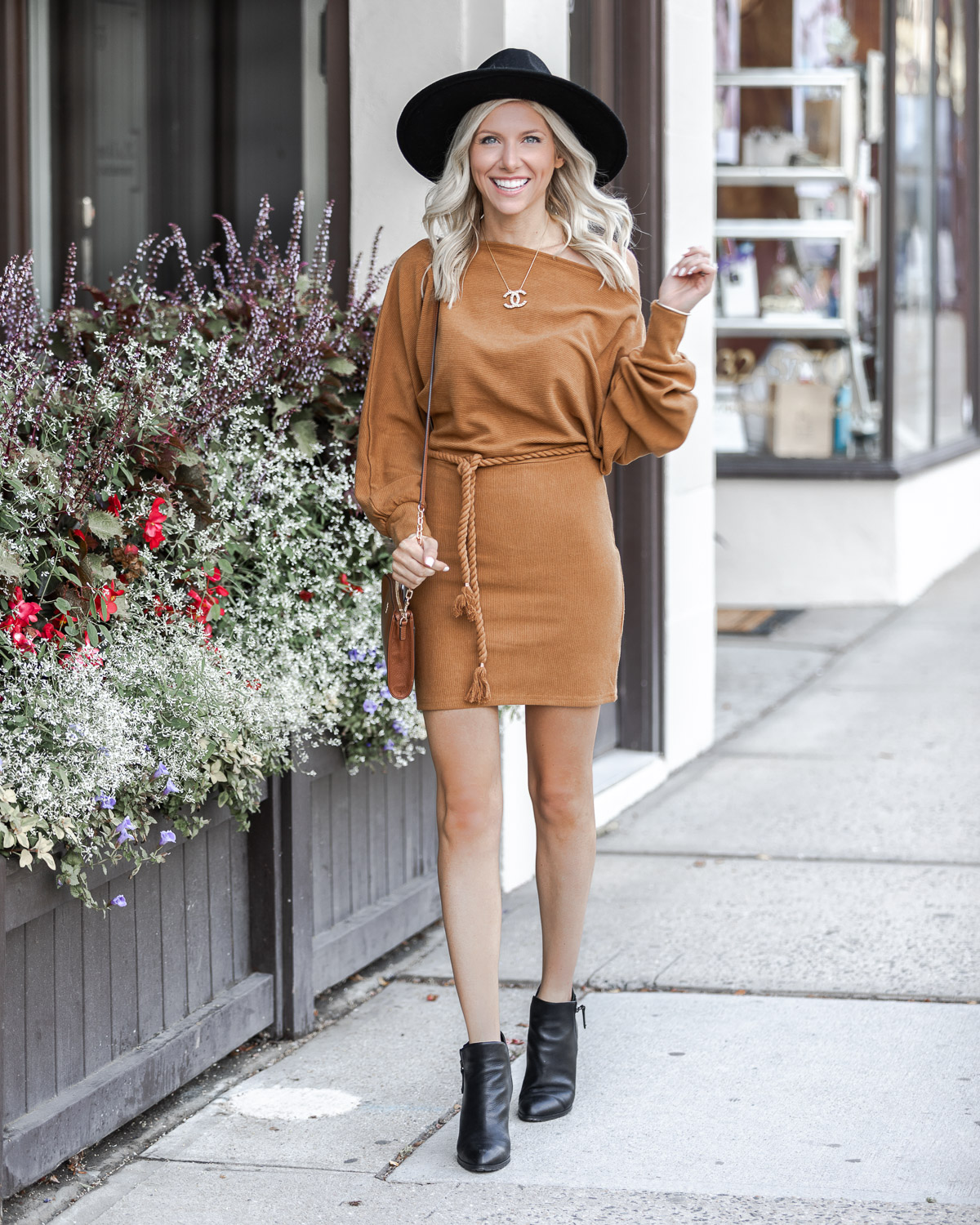 Off the shoulder fall sweater dress The Glamorous Gal