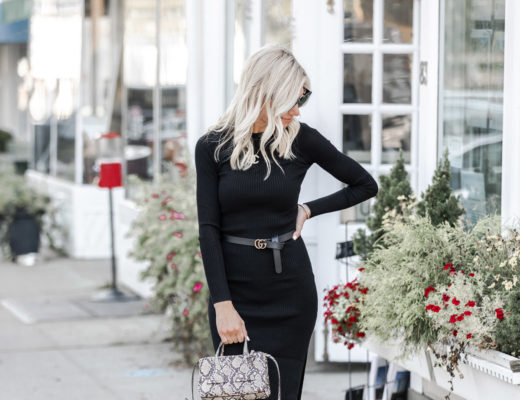 black long sleeve midi dress gucci belt - highlight photo - The Glamorous Gal