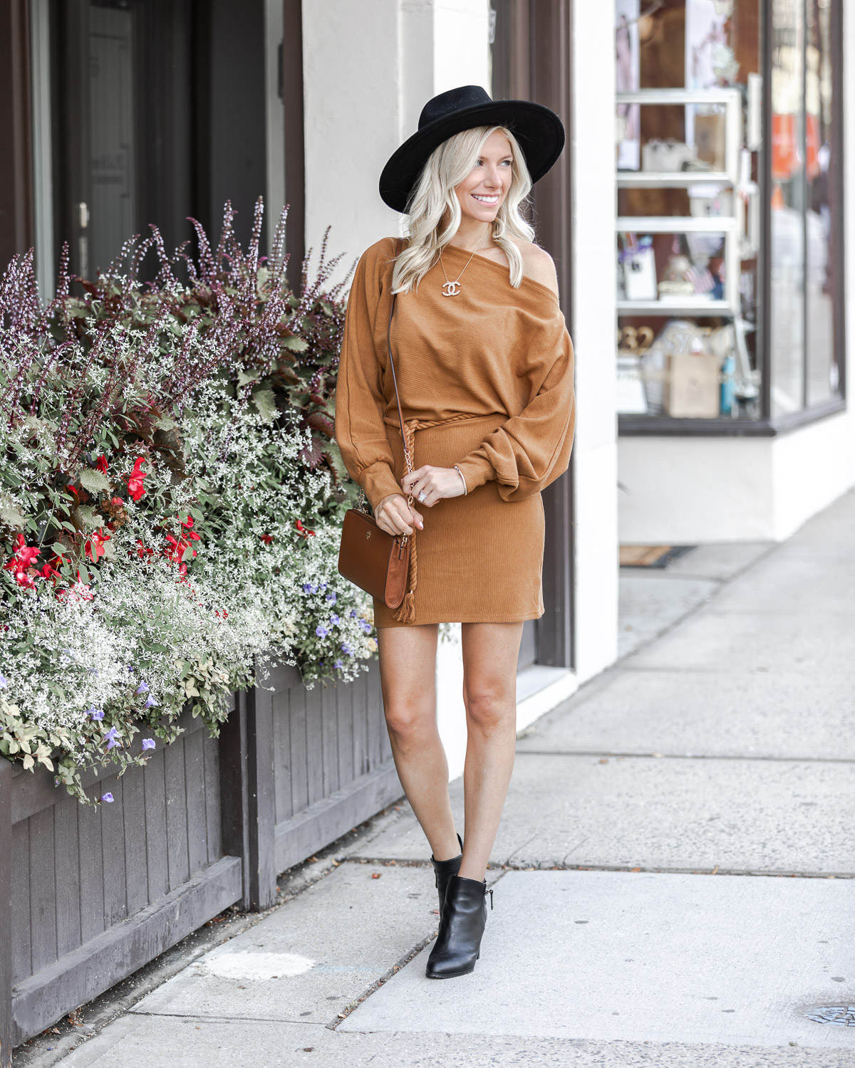 casual fall sweater dress in cognac The Glamorous Gal