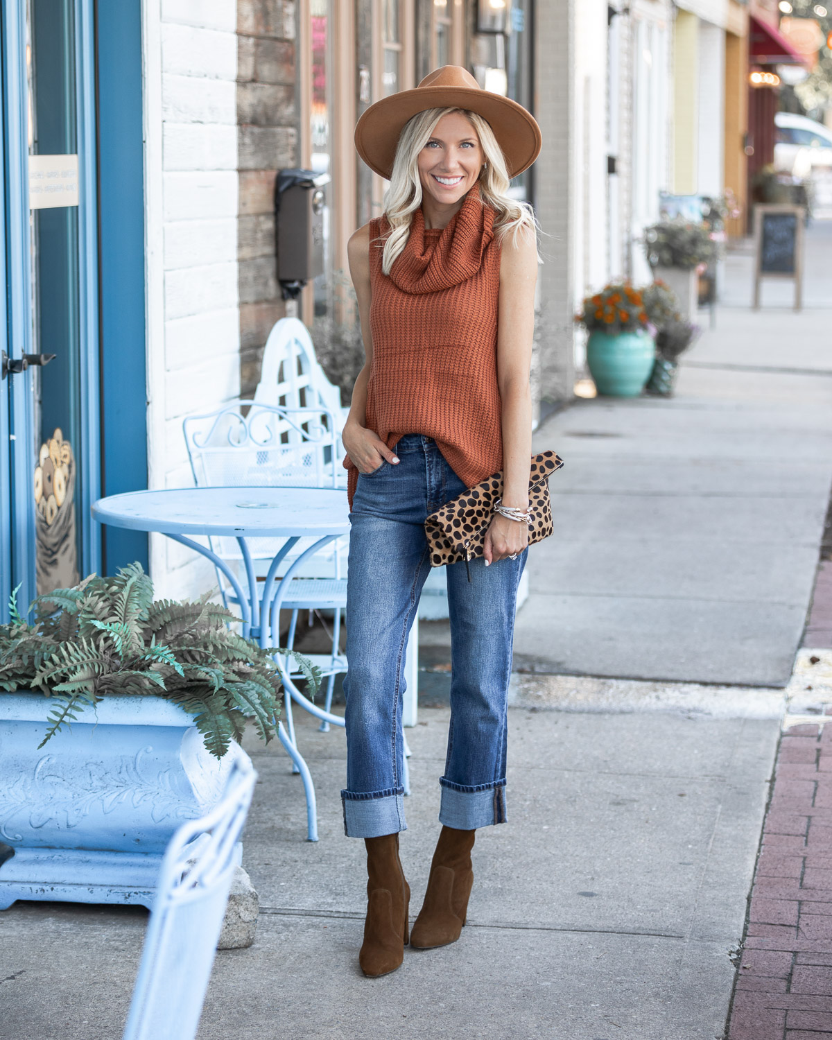 kensie fall denim and mint julep sweater The Glamorous Gal