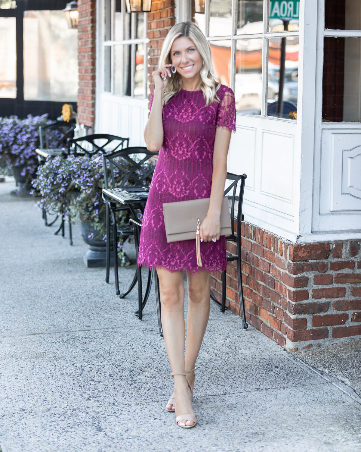 kensie wine lace dress The Glamorous Gal