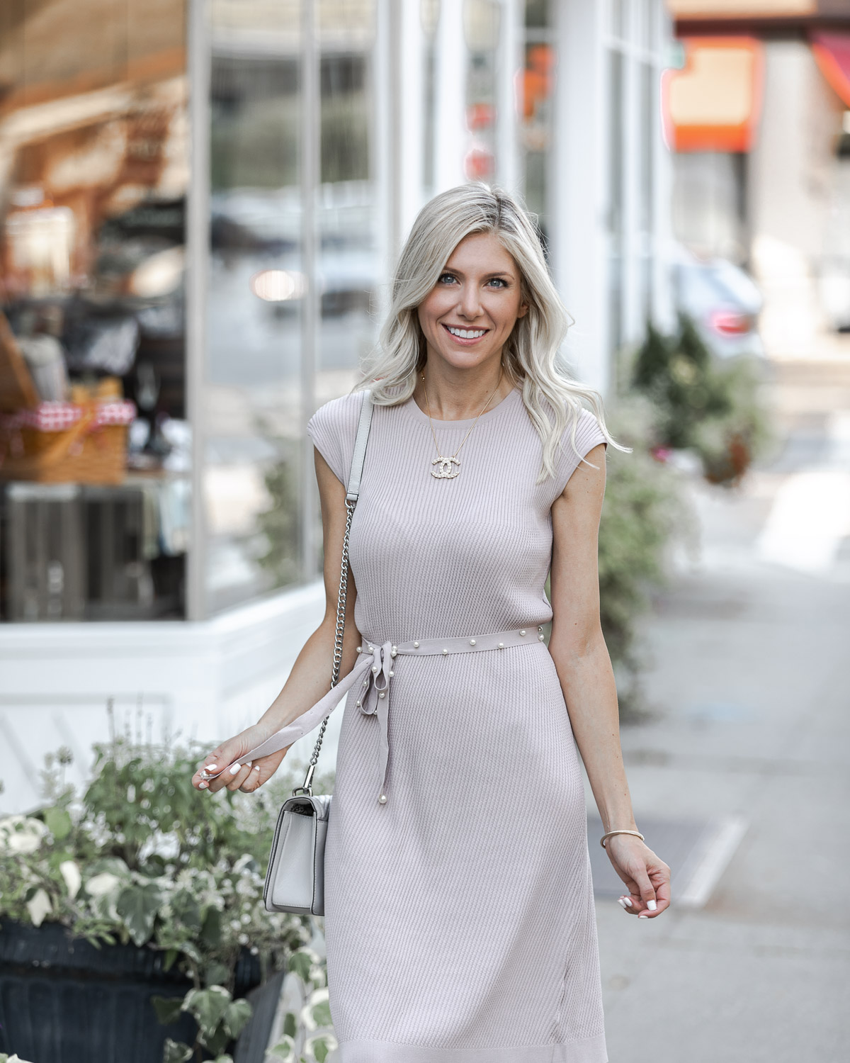 lilac cap sleeve midi dress for fall The Glamorous Gal