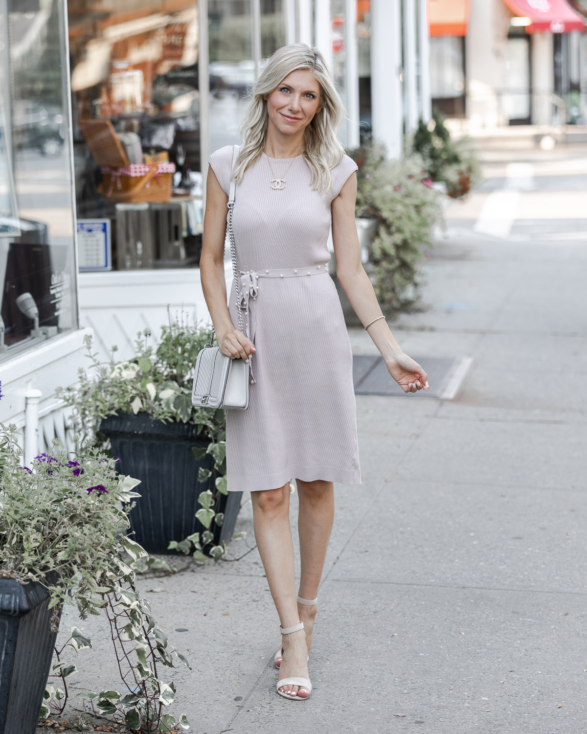 lilac sweater dress with pearl belt The Glamorous Gal