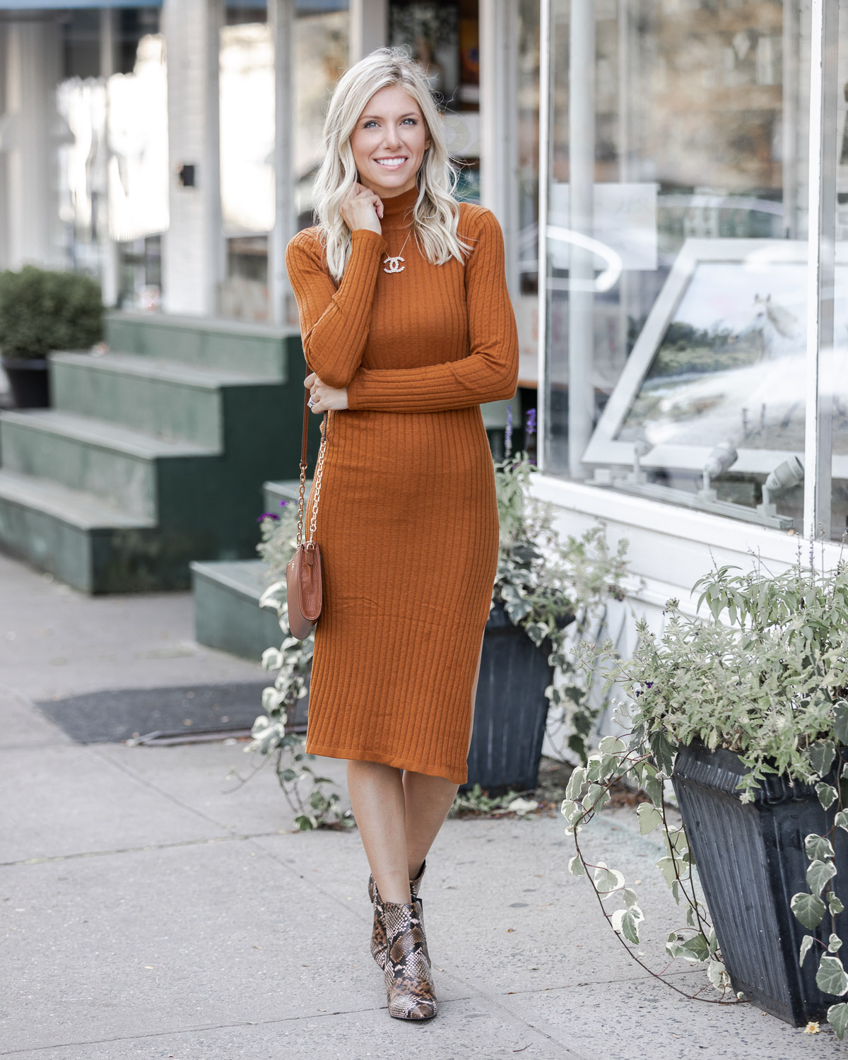long sleeve ribbed sweater dress for fall The Glamorous Gal