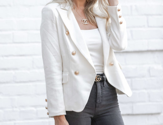 shopbop white blazer and snake print handbag The Glamorous Gal