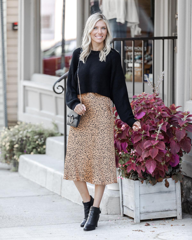 silk midi skirt under $50 The Glamorous Gal