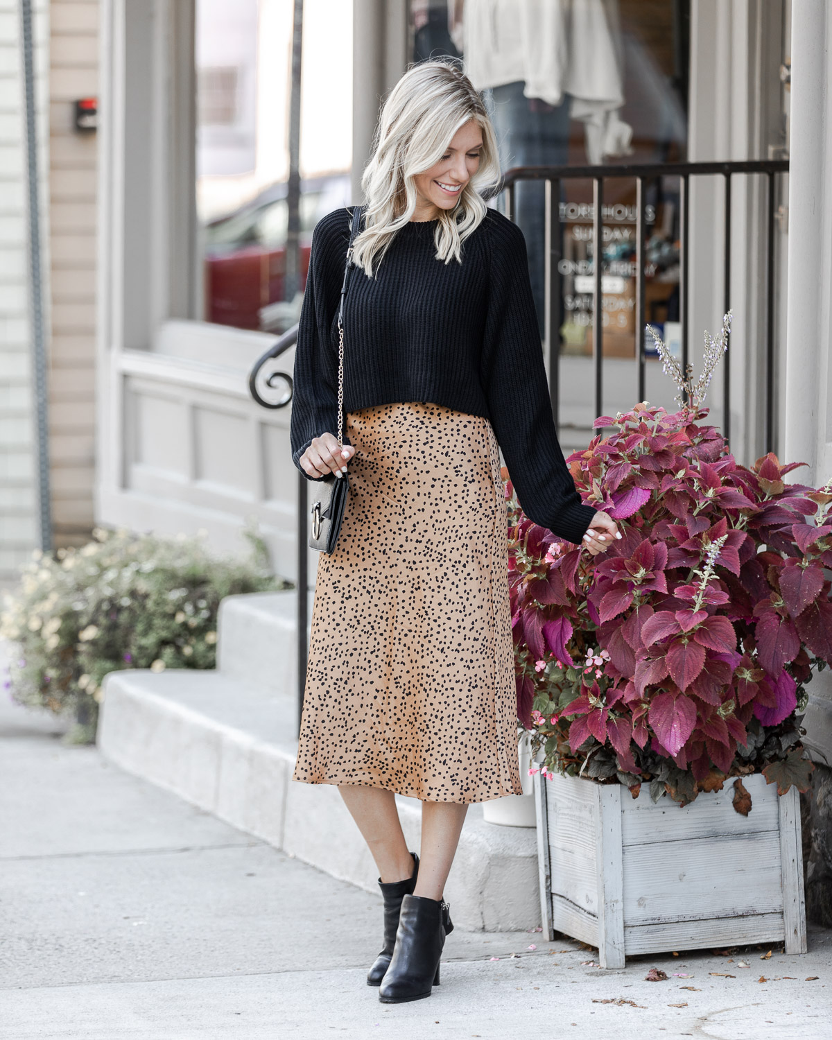 skirt and sweater fall outfit The Glamorous Gal
