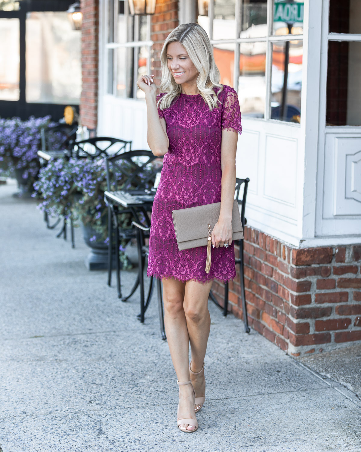 the perfect fall cocktail dress in cranberry The Glamorous Gal