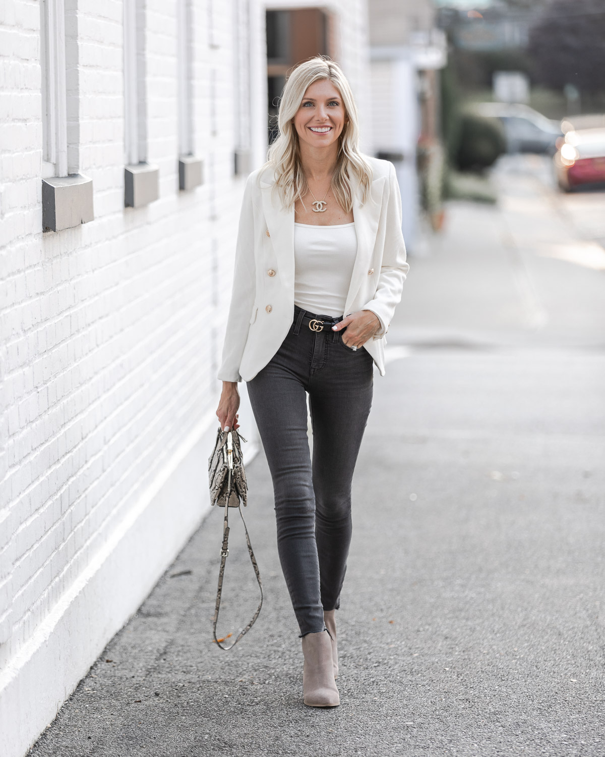 the perfect gray jeans and white blazer look The Glamorous Gal