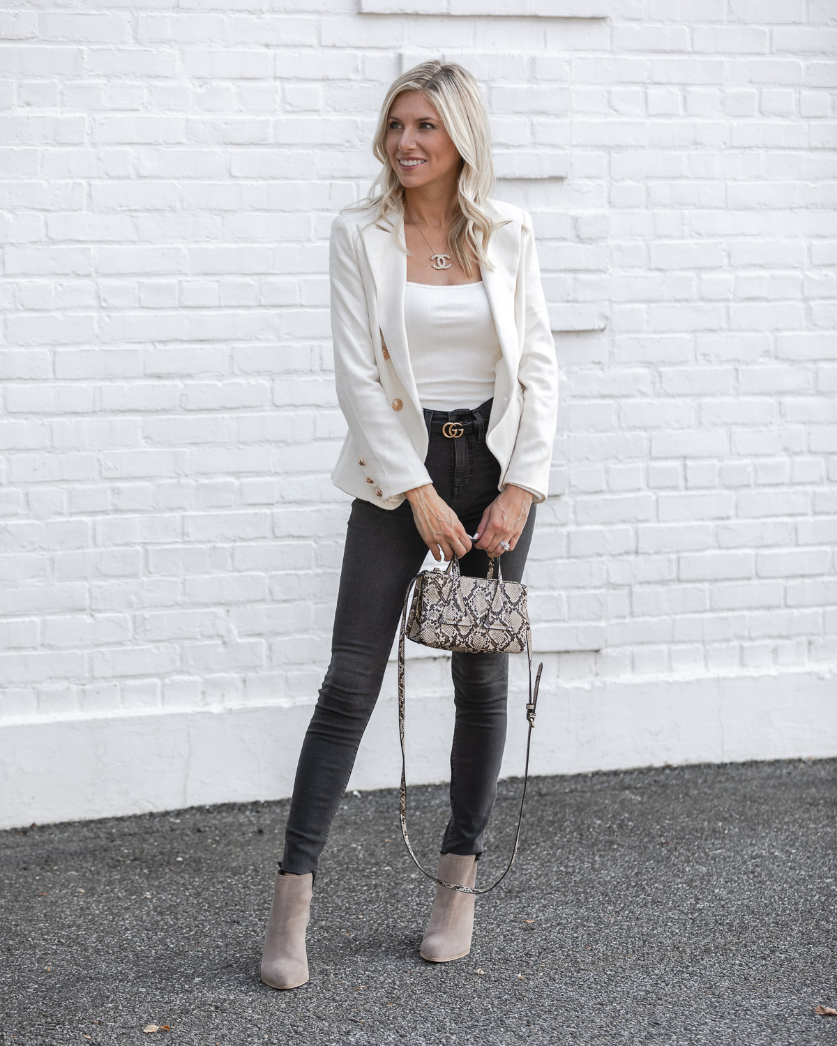 white blazer and body suit perfect for work or play The Glamorous Gal