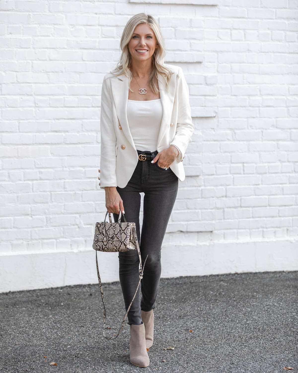 white blazer with gold buttons from shopbop The Glamorous Gal