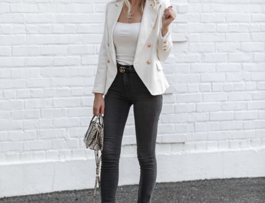 white body suit and gray jeans The Glamorous Gal