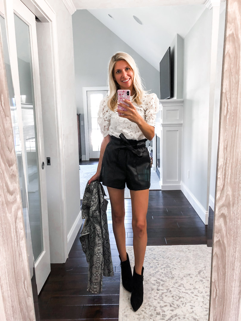Pleather shorts and lace top The Glamorous Gal