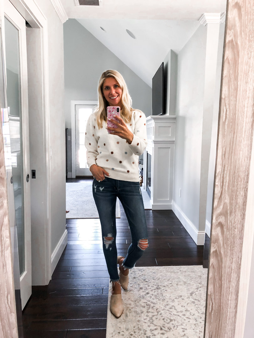 Polka Dot Sweater and Cropped Jeans The Glamorous Gal