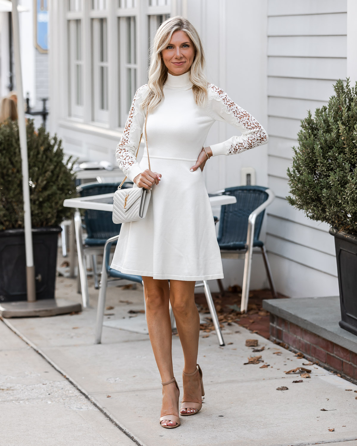 White a-line dress from eliza j The Glamorous Gal