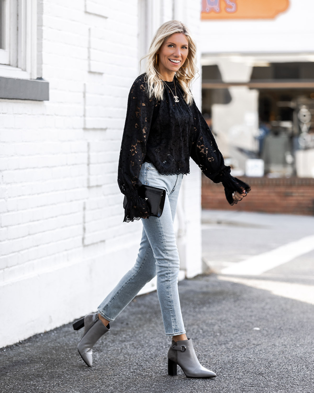 aerosoles gray booties and comfy light jeans The Glamorous Gal