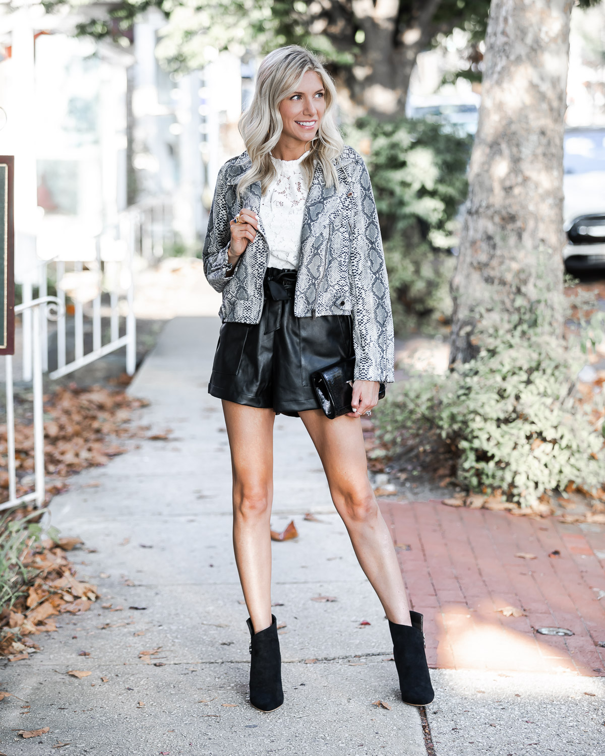 black pleather shorts and snake print for fall The Glamorous Gal