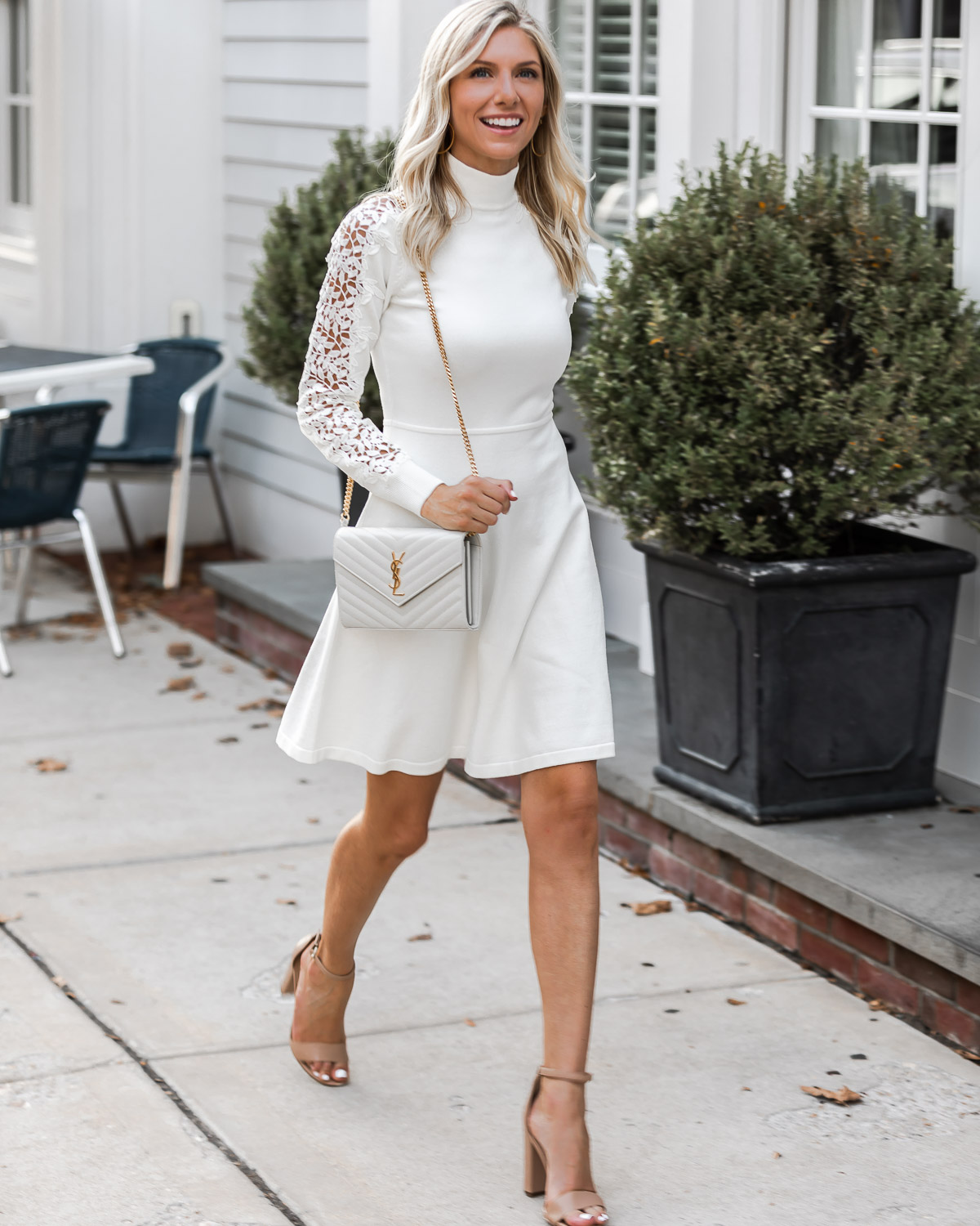 casual and sophisticated white on white look for fall The Glamorous Gal