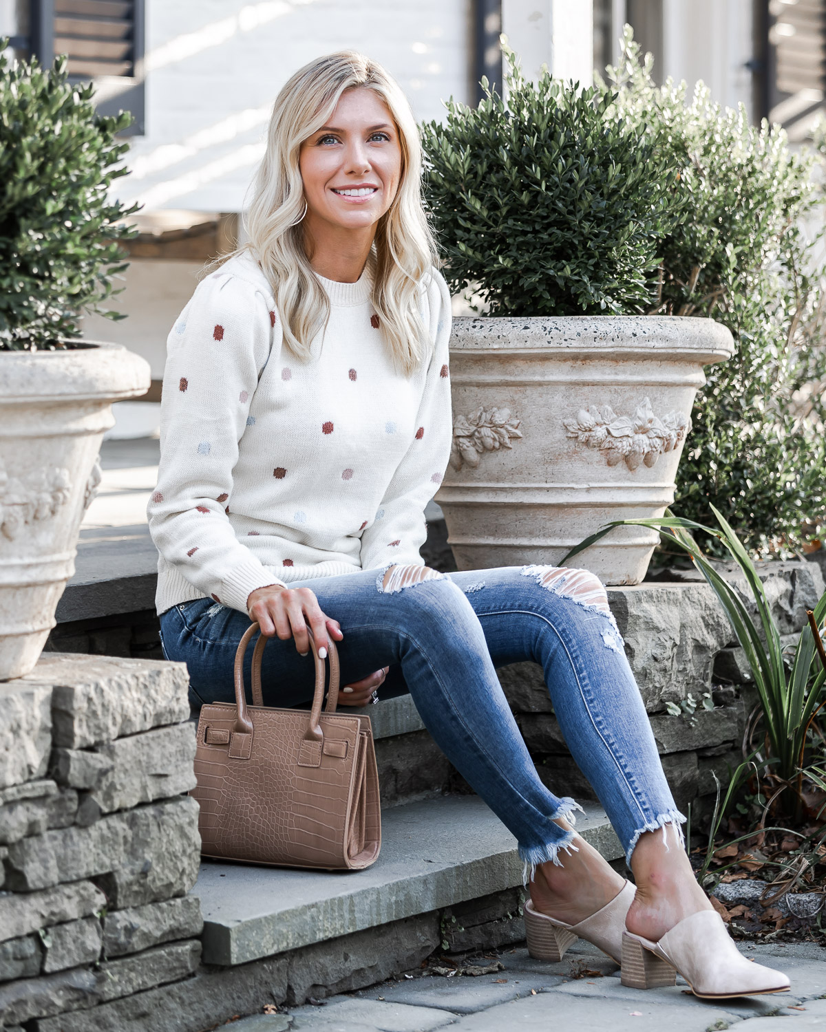 casual fall outfit with slip on mules The Glamorous Gal