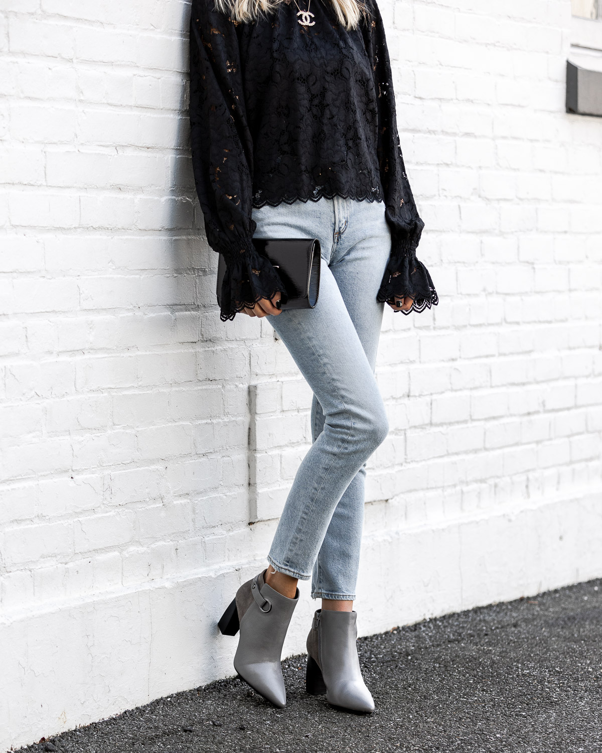 comfortable gray booties from aerosoles The Glamorous Gal
