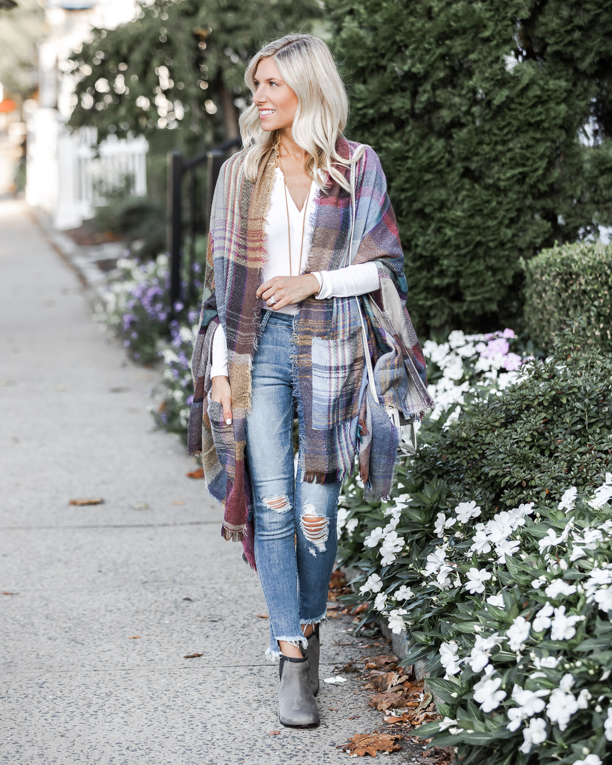 cozy plaid wrap for fall The Glamorous Gal