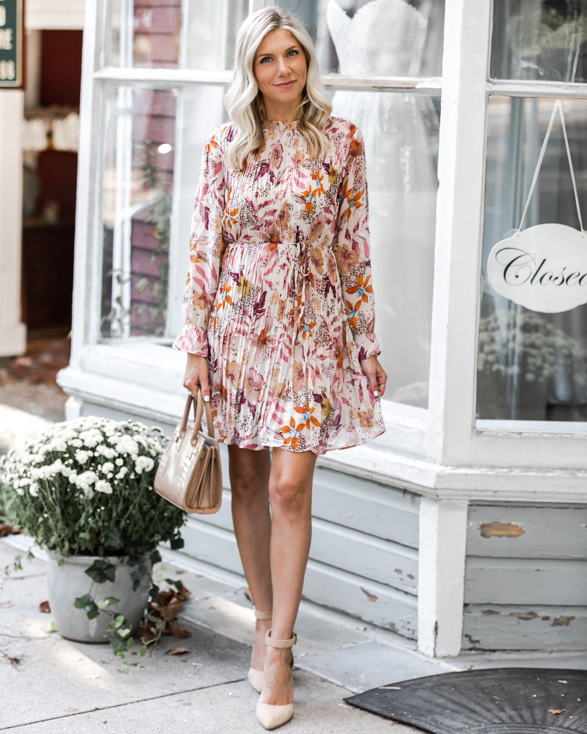 fall floral dress from VICI The Glamorous Gal