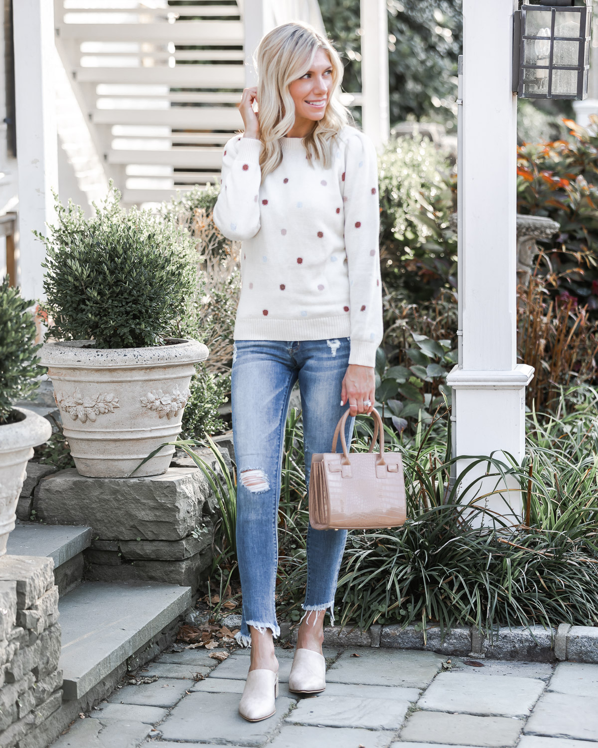 frayed jeans and fall sweater from vici The Glamorous Gal